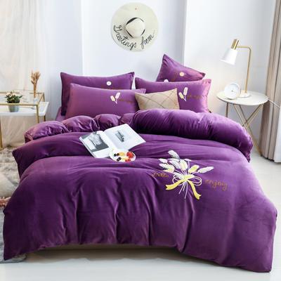 2019新款冬季保暖水晶绒绒毛巾绣四件套 1.5m床单款 麦穗-紫色