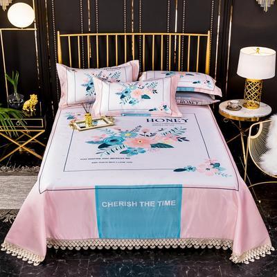 2020新款600D冰丝凉席花边床单款三件套 250*250cm凉席三件套 钟爱时光