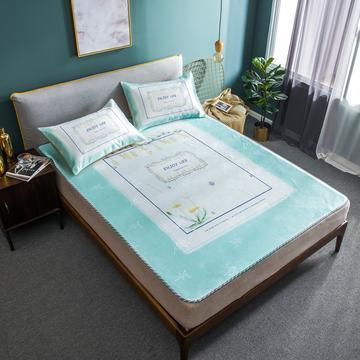 数码印花卡通冰丝席三件套 1.5m(5英尺)床 乐享生活绿