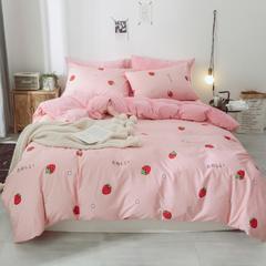 爆款推荐2018新款-棉加绒四件套水晶绒 三件套1.2m(4英尺)床 草莓情侣