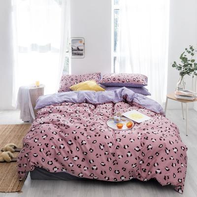 2019新款-全棉小清新四件套跑量款 1.8m(6英尺)床 豹纹紫