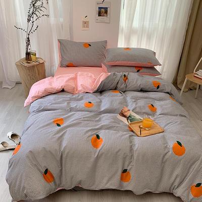 2019新款-全棉小清新四件套跑量款 1.8m(6英尺)床 橙子