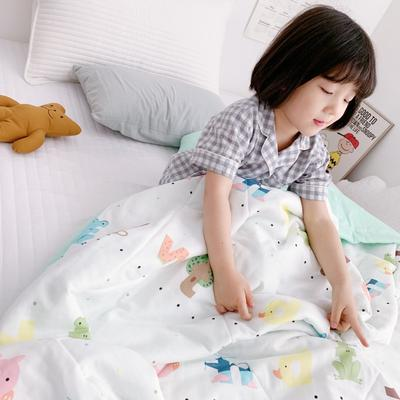 2019新款-日式纱布儿童棉花夏被 120*150cm 日式纱布棉花夏被-童趣字母