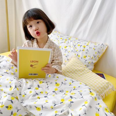 2019新款-治愈系全棉嵌绳四件套实拍图 三件套1.2m(4英尺)床 黄色花蕾
