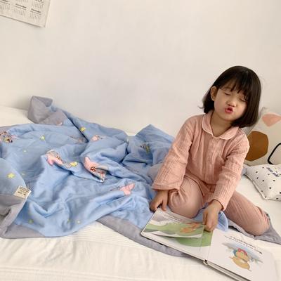 2019新款-日式纱布儿童棉花夏被 120*150cm 小飞象-蓝