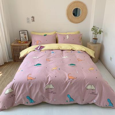 2019新款-13070小清新四件套实拍图 床单款四件套1.8m(6英尺)床 小恐龙粉