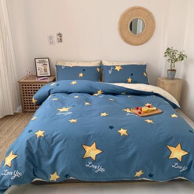 2019新款-13070小清新四件套实拍图 床单款四件套1.8m(6英尺)床 星辰