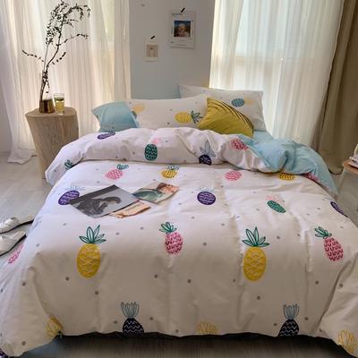 2019新款-13070小清新四件套实拍图 床单款四件套1.8m(6英尺)床 炫彩菠萝