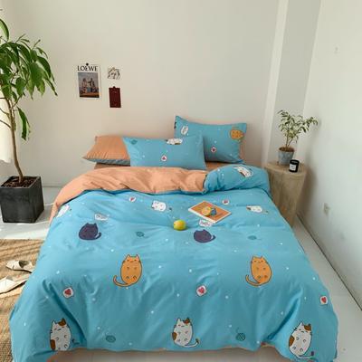 2019新款-13070小清新四件套实拍图 床单款四件套1.8m(6英尺)床 招财猫