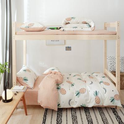 2019新款-全棉ins小清新学生三件套 床单款三件套1.2m(4英尺)床 菠萝蜜语