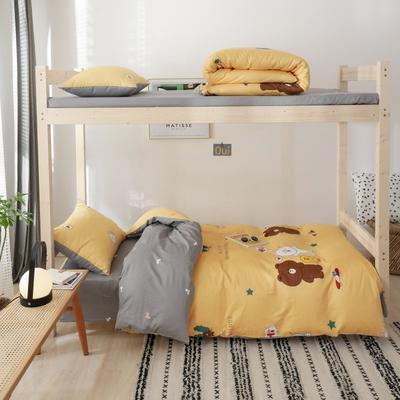 2019新款-全棉ins小清新学生三件套 床单款三件套1.2m(4英尺)床 布朗可妮