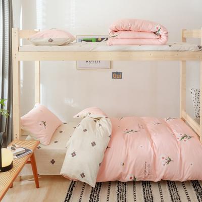 2019新款-全棉ins小清新学生三件套 床单款三件套1.2m(4英尺)床 粉色夏沫