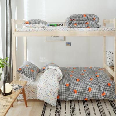 2019新款-全棉ins小清新学生三件套 床单款三件套1.2m(4英尺)床 格子西红柿
