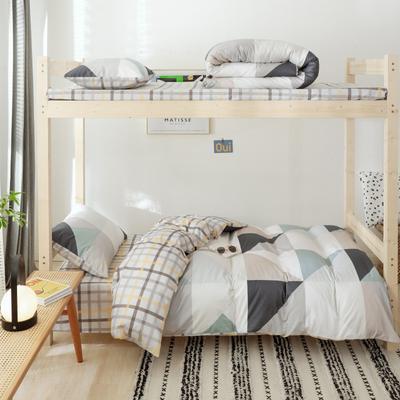 2019新款-全棉ins小清新学生三件套 床单款三件套1.2m(4英尺)床 星光无限灰