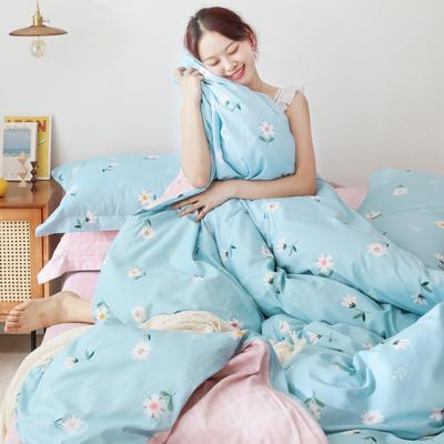 2019新款-13372全棉精梳YB亚博在线娱乐系列 床单款三件套1.2m(4英尺)床 雏菊蓝
