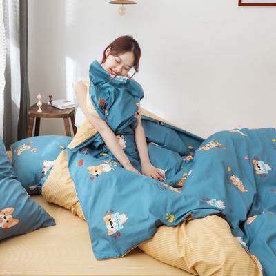 2019新款-13372全棉精梳YB亚博在线娱乐系列 床单款三件套1.2m(4英尺)床 柯基家族