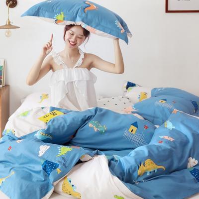 2019新款-13372全棉精梳YB亚博在线娱乐系列 床单款三件套1.2m(4英尺)床 恐龙园蓝