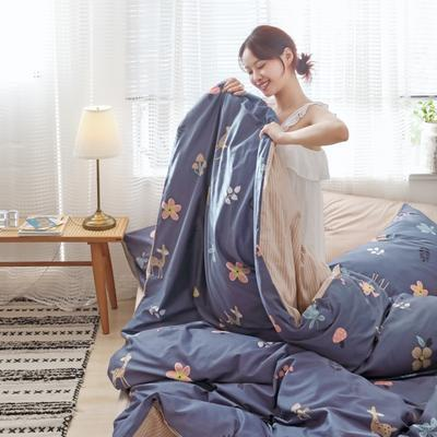 2019新款-13372全棉精梳YB亚博在线娱乐系列 床单款三件套1.2m(4英尺)床 蘑菇小鹿