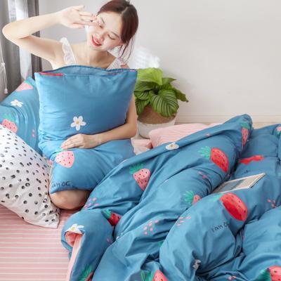 2019新款-13372全棉精梳四件套系列 床单款三件套1.2m(4英尺)床 慕斯草莓蓝