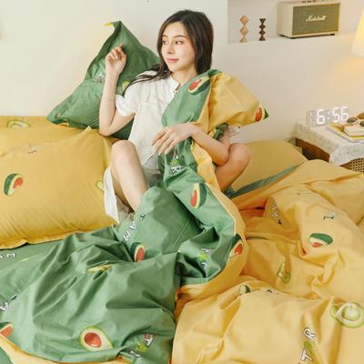 2019新款-13372全棉精梳四件套系列 床单款三件套1.2m(4英尺)床 牛油果