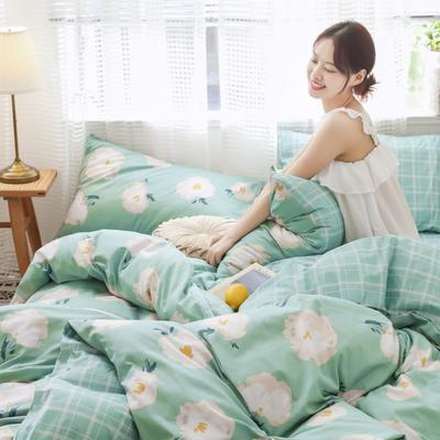 2019新款-13372全棉精梳四件套系列 床单款三件套1.2m(4英尺)床 四月花开