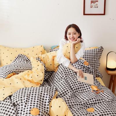 2019新款-13372全棉精梳四件套系列 床单款三件套1.2m(4英尺)床 小格橘