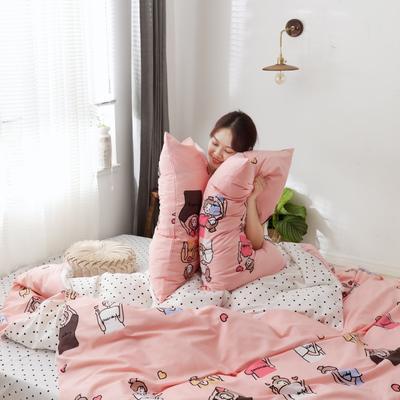2019新款-13372全棉精梳四件套系列 床单款三件套1.2m(4英尺)床 小姐姐