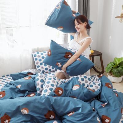 2019新款-13372全棉精梳四件套系列 床单款三件套1.2m(4英尺)床 熊宝