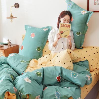 2019新款-13372全棉精梳四件套系列 床单款三件套1.2m(4英尺)床 泫雅花