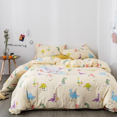 2019新款-全棉纱布四件套 床单款三件套1.2m(4英尺)床 纱布-黄色恐龙