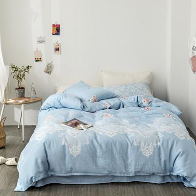 2019新款-全棉纱布四件套 床单款三件套1.2m(4英尺)床 纱布-蕾丝情怀