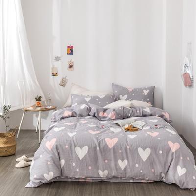 2019新款-全棉纱布四件套 床单款三件套1.2m(4英尺)床 纱布-心恋