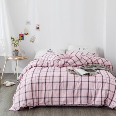 2019新款-全棉纱布四件套 床单款三件套1.2m(4英尺)床 纱布-休闲格