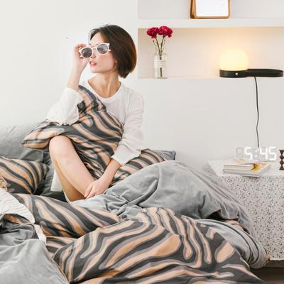 2019新款-棉加绒四件套 床单款三件套1.2m(4英尺)床 斑马条纹