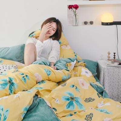 2019新款-棉加绒四件套 床单款三件套1.2m(4英尺)床 蝴蝶花开