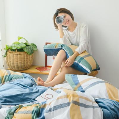 2019新款-棉加绒四件套 床单款三件套1.2m(4英尺)床 简约条格