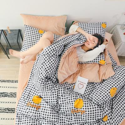 2019新款-棉加绒四件套 床单款三件套1.2m(4英尺)床 小格橘
