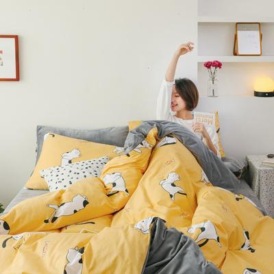 2019新款-棉加绒四件套 床单款三件套1.2m(4英尺)床 早安猫咪
