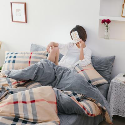 2019新款-棉加绒四件套 床单款三件套1.2m(4英尺)床 棕色条格