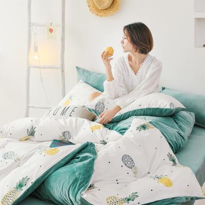 2019新款-棉加绒四件套 床单款三件套1.2m(4英尺)床 菠萝物语