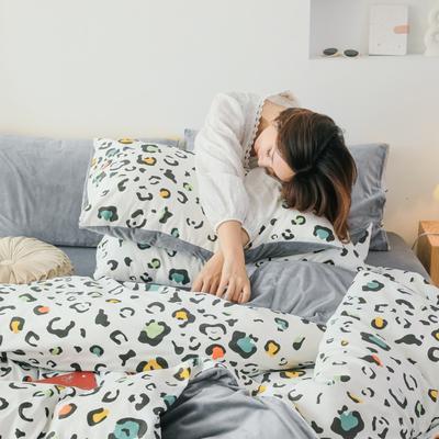 2019新款-棉加绒四件套 床单款三件套1.2m(4英尺)床 彩色豹纹