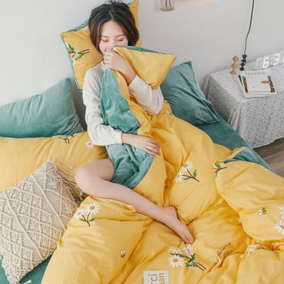 2019新款-棉加绒四件套 床单款三件套1.2m(4英尺)床 雏菊黄