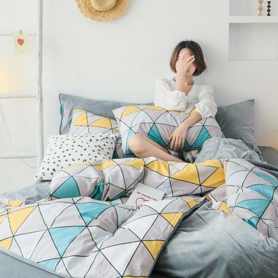 2019新款-棉加绒四件套 床单款三件套1.2m(4英尺)床 趣味几何