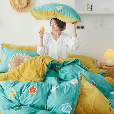 2019新款-棉加绒四件套 床单款三件套1.2m(4英尺)床 泫雅花