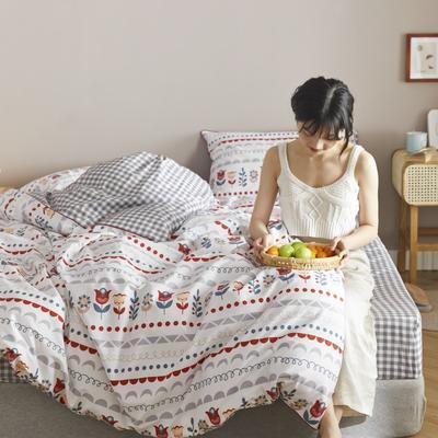 2020新款-嵌绳印花系列四件套 床单款1.5m(5英尺)床 爱上西里