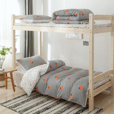 2020新款-小清新單人三件套 床單款1.2m(4英尺)床 格子西紅柿