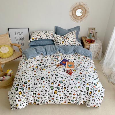 2020新款-全棉实拍图四件套 床单款三件套1.2m(4英尺)床 彩色豹纹