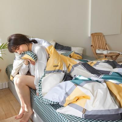 2020新款-簡約格調系列四件套 床單款三件套1.2m(4英尺)床 艾夫尼黃
