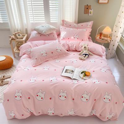 2020新款-13372四件套 床单款四件套1.5m(5英尺)床 草莓兔