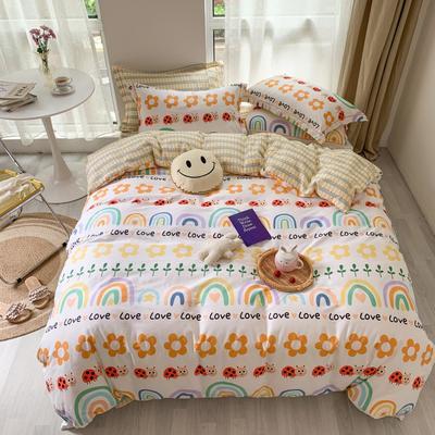 2020新款-全棉吊边系列四件套 床单款四件套1.5m(5英尺)床 彩虹甜心